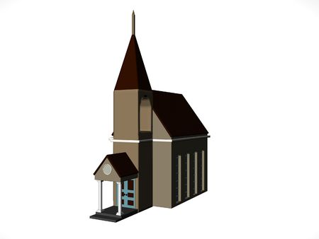 rendered: Isolated rendered church Stock Photo