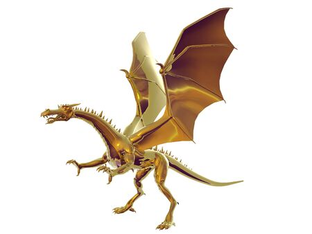 Isolated gold dragon Stock Photo - 290760