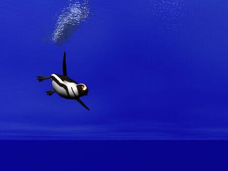 antarctic: Penguin swimming under water Stock Photo