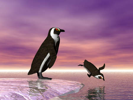 antarctic: Two penguins, one diving