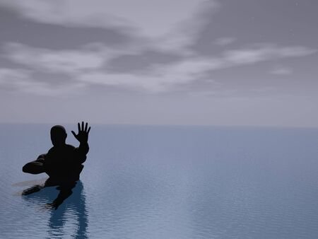 disapprove: Man silhouette in sea signaling halt Stock Photo