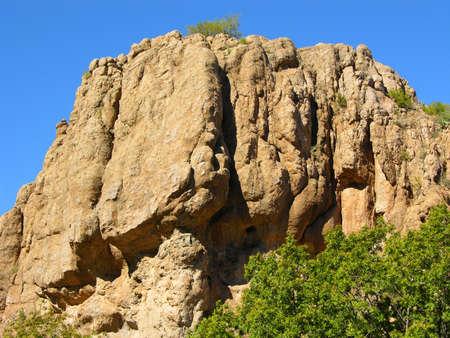 Desert cliffs against a briliant sky