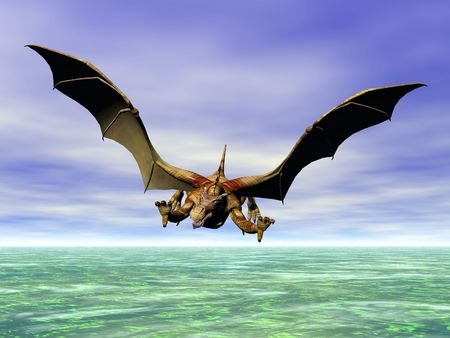 Flying dragon in attack posture