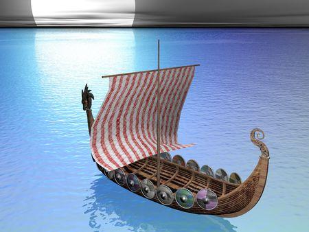 Viking raider at sea Standard-Bild