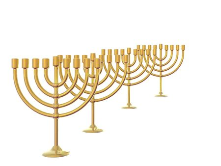 Four Golden Menorah isolated