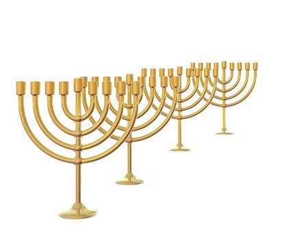israelite: Four Golden Menorah isolated