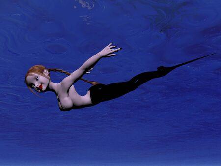 Mermaid swimming under the sea Stock Photo - 295119