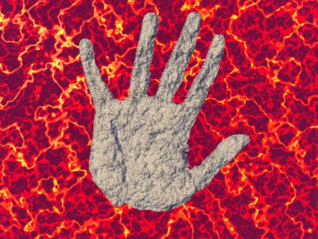 magneto: Hand suspended in molten magma Stock Photo