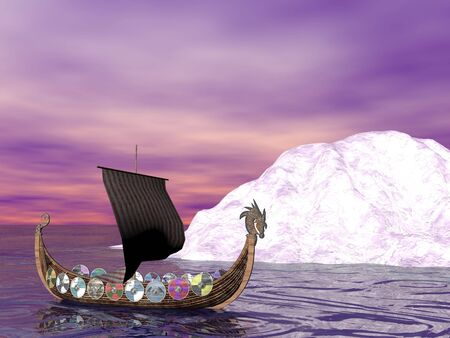 Viking raider boat Stock Photo