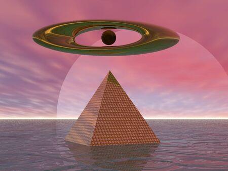 Surreal pyramid before moon