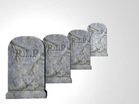 Four tombstones isolated