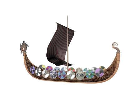 Isolated viking raider ship Stock Photo