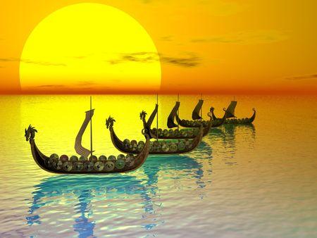raider: Viking raider fleet
