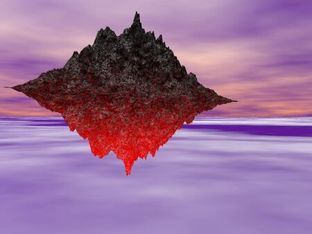 Surreal flying fire mountain Stock Photo