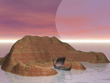 Viking ship at island photo