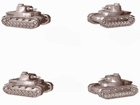 Military tanks isolated on white with copy space
