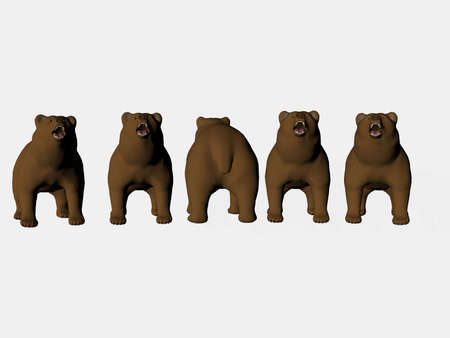Isolated line of bears - one backwards photo