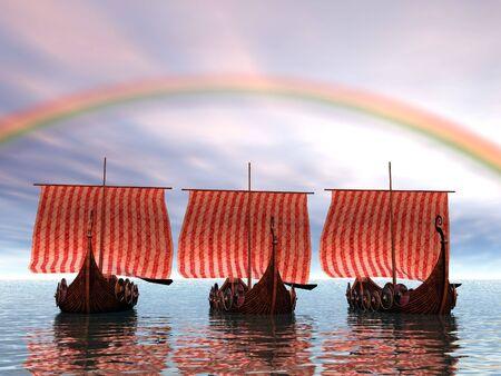 Viking ships leaving port photo