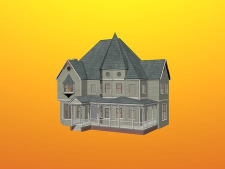 gables: Isolated Victorian house Stock Photo