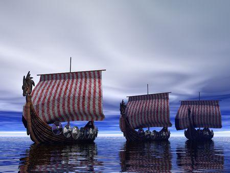 vikingo: Viking buques b�squeda  Foto de archivo