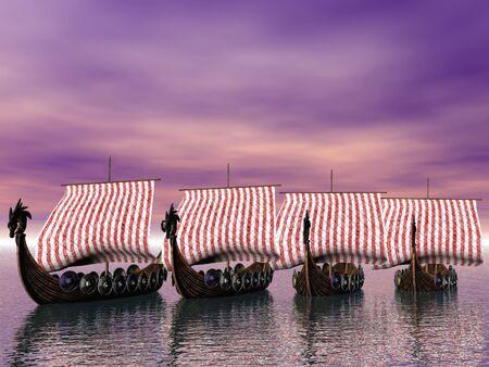 Viking fleet underway photo