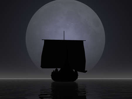 Silhouette of a viking ship