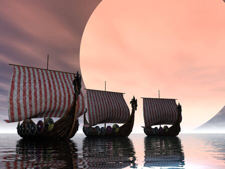 Sunset of a viking fleet photo