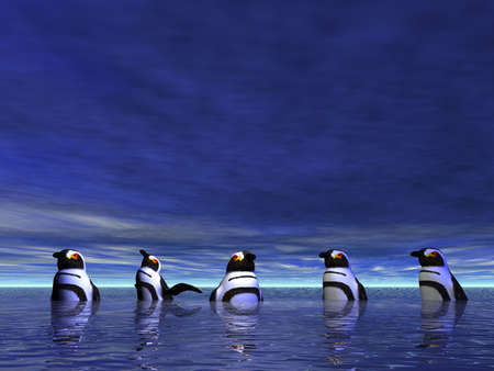 Penguins taking a cool dip