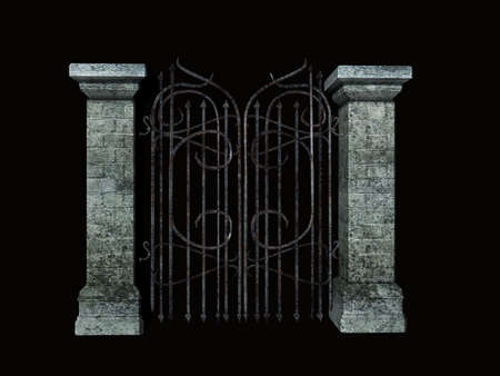 Isolated stone and iron gate
