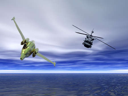 pursuing: Helicopter pursuing fighter aircraft Stock Photo