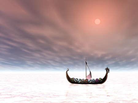 Viking ship alone at sea photo
