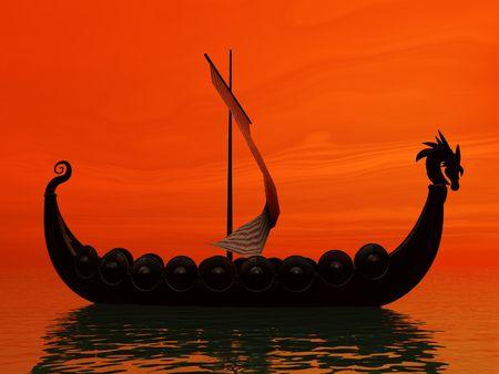 Fire sun around viking ship photo