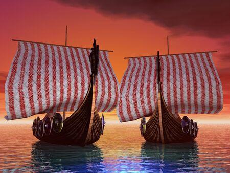 Viking ships in port at sunset Standard-Bild