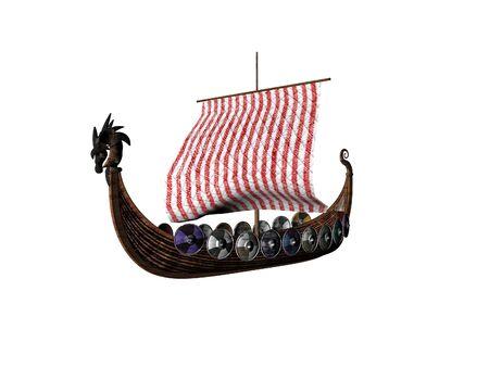 Geïsoleerde Vikingschip Stockfoto