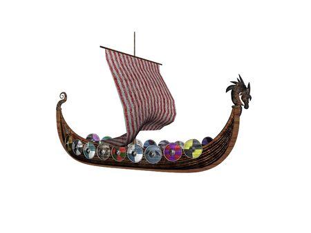 Isolated viking ship