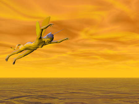 바다를 날아 다니는 요정 스톡 콘텐츠