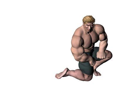 brawny: Bodybuilder posing Stock Photo