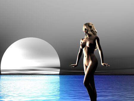 Ilustrado mujer desnuda en el mar Foto de archivo - 329529