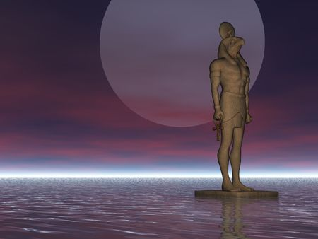 horus: Egyptian statue of Horus guarding harbor Stock Photo