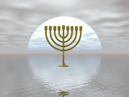 Surreal presentation of a gold menorah Stock Photo - 340918