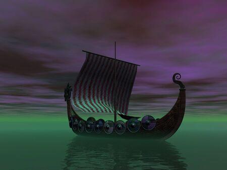 Silhouette of viking ship