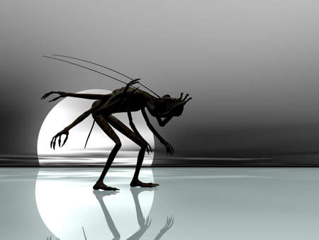 Creature on ice silhouetted