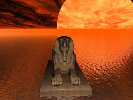 Sphinx in een surrealistische zeegezicht