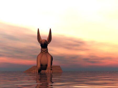 Surreal sphinx at sea