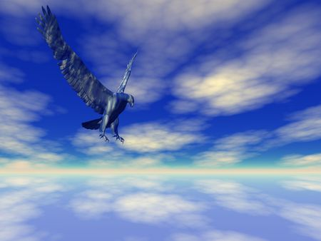Blue eagle high in the sky