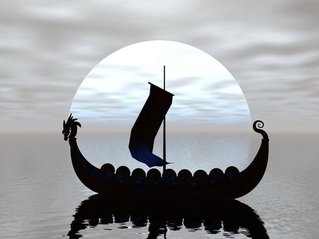 Viking ship silhouetted by the moon