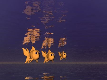 Three goldfish in the sea photo