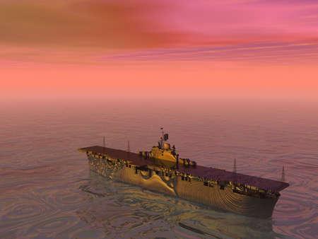 Aircraft carrier at sea photo