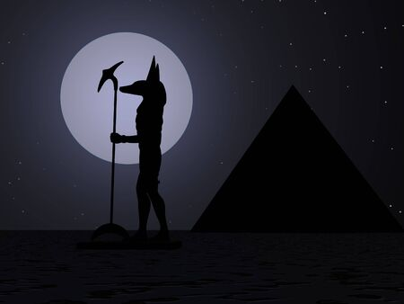 statuary: Moon silhouette of Anubis Stock Photo