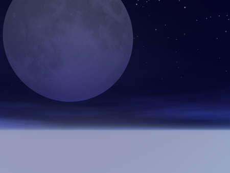 霧の上に昇る月 写真素材